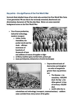Handout - Key points on the First World War  - The Lost Generation