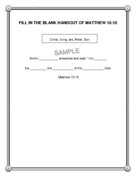 """Handout - """"Simon Peter answered and said..."""" Matthew 16:16. (NKJV) Print & Go!"""