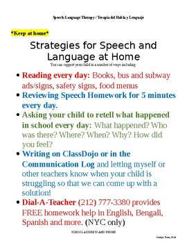 Speech Welcome Letter to Parents & At-Home Strategies (English/Spanish)
