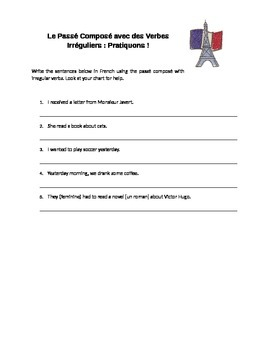 Handout: The Passé Composé with Irregular Verbs in French