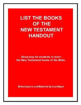 New Testament Books of the Bible Handout w/Teacher's Ans Key