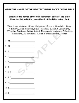 The Names of the New Testament Books of the Bible Handout