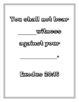 "Handout - ""You shall not bear false..."" Exodus 20:16. Print & Go!"