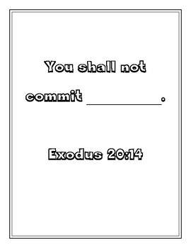 """Handout - """"You shall not commit..."""" Exodus 20:14 .Print & Go!"""