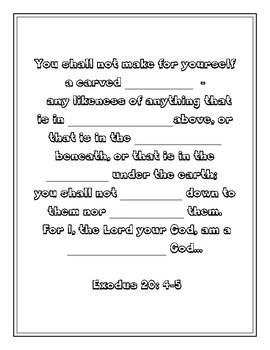 "Handout - ""You shall not make for yourself "" Exodus 20:4-5. Print & Go!"