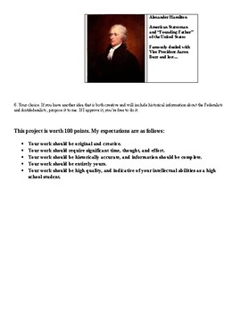 Handout for Government: Federalists and Antifederalists, Creative Project