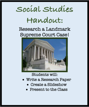 Handout for Government: Research Landmark Supreme Court Case. Paper and Slides