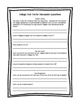 """Questions for """"Student Fear Factor"""" by Rebecca Cox"""