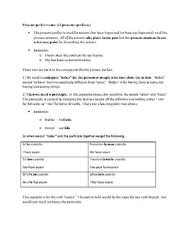 Handout for introducing the present perfect tense in Spanish