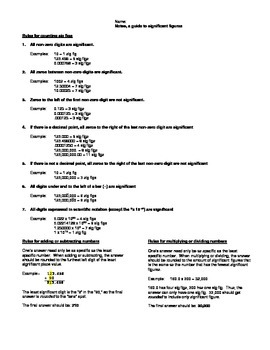 Handout, rules for Sig Figs