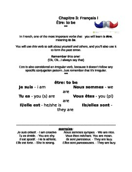 Handout: the Verb Etre in the Present Tense--Bien Dit Chapter 3 Level 1