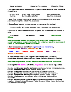 Handout: Mayúsculas y minúsculas in Spanish. Notes capitalization in spanish