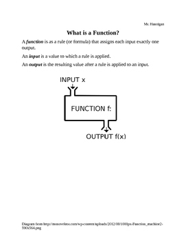 Handouts for Introduction to Functions