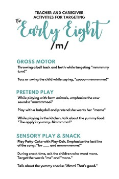 Handouts for Play-Based Speech Activities (Early 8 sounds + /t/)