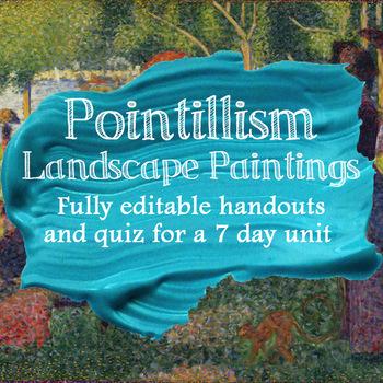 Handouts for Pointillism Landscape Watercolor Unit - Fully Editable Word Doc