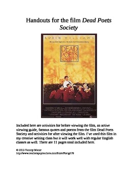Handouts for the film Dead Poets Society