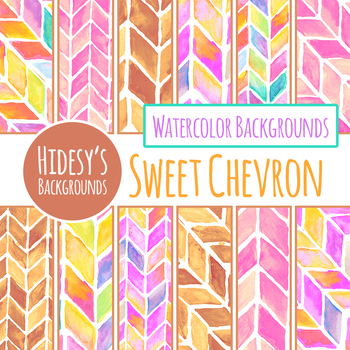Handpainted Chevron Watercolor Digital Papers / Backgrounds Clip Art Set