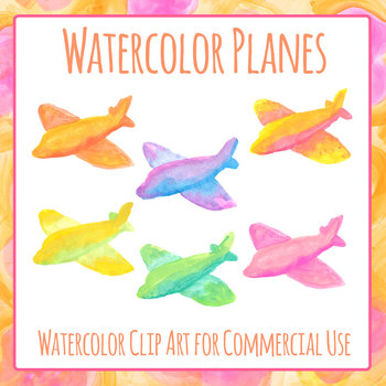 Handpainted Watercolor Airplane or Aeroplane or Plane Clip Art Set Commercial