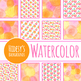 Handpainted Watercolor Apple Digital Paper / Backgrounds / Clip Art Set