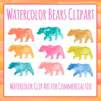 Handpainted Watercolor Bears Clip Art Set for Commercial Use