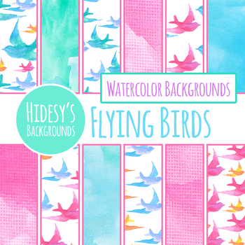 Handpainted Watercolor Birds Flying Digital Papers / Backgrounds / Patterns