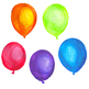 Handpainted Watercolor Birthday Balloons Clipart
