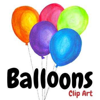 Handpainted Watercolor Birthday Balloons Clipart By Affordable Clip Art