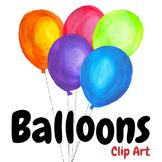 Handpainted Watercolor Birthday Balloons Clipart
