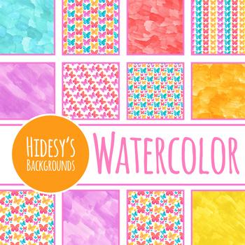 Handpainted Watercolor Butterflies Digital Papers / Backgrounds / Clip Art