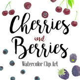 Handpainted Watercolor Cherries and Berries Clip Art