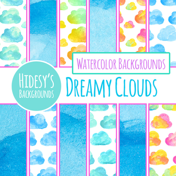 Handpainted Watercolor Clouds Digital Paper / Backgrounds Clip Art Set