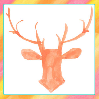 Handpainted Watercolor Deer Heads Clip Art Set for Commercial Use