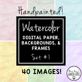 Handpainted Watercolor Digital Paper, Backgrounds, and Fra