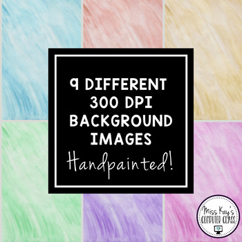 Handpainted Watercolor Digital Paper, Backgrounds, and Frames - Set #3