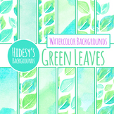 Handpainted Watercolor Green Leaves / Leaf Backgrounds / D
