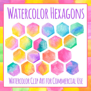 Handpainted Watercolor Hexagons Clip Art Set Commercial Use