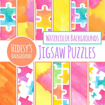 Handpainted Watercolor Jigsaw Puzzle Digital Paper / Backgrounds Clip Art Set