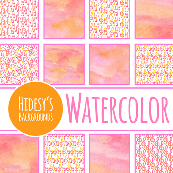 Handpainted Watercolor Music / Musical Notes Digital Papers / Backgrounds