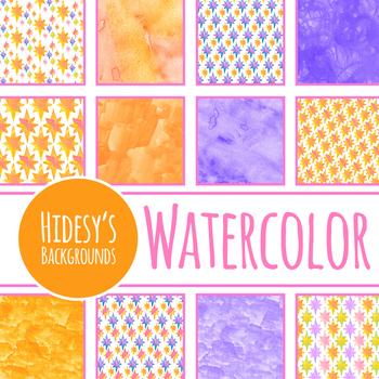 Handpainted Watercolor Orange and Purple Stars Digital Paper / Backgrounds