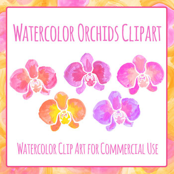 Handpainted Watercolor Orchid Flower Clip Art Set for Commercial Use