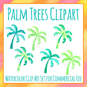 Handpainted Watercolor Palm Trees / Tropical Trees Clip Art Set Commercial Use