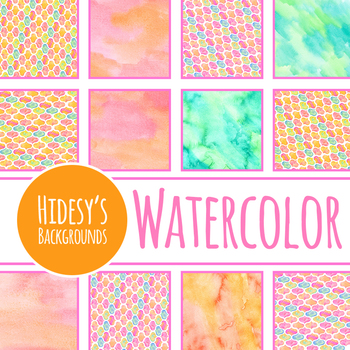Handpainted Watercolor Pastal Backgrounds / Digital Papers Clip Art Set