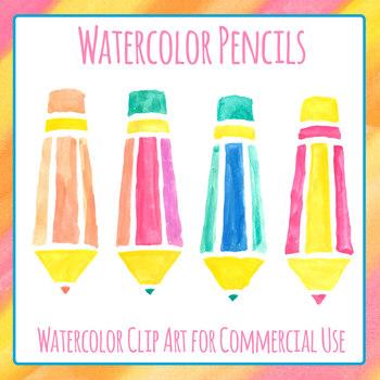 Handpainted Watercolor Pencils Clip Art Set Commercial Use