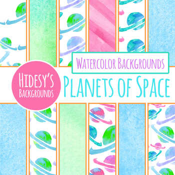 Handpainted Watercolor Planets / Space Themed Digital Papers / Backgrounds