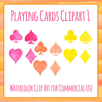 Handpainted Watercolor Playing Card Symbols Clip Art Commercial Use