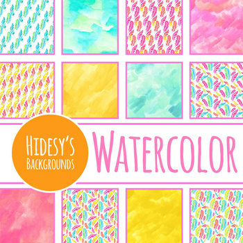Handpainted Watercolor Rainbow Feathers Digital Papers / Backgrounds