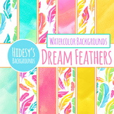 Handpainted Watercolor Rainbow Feathers Digital Papers / B