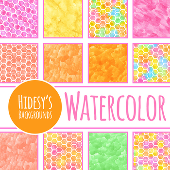Handpainted Watercolor Rainbow Honeycomb Digital Papers / Backgrounds