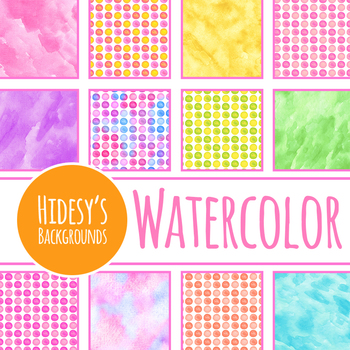 Handpainted Watercolor Rainbow Spots Digital Papers / Backgrounds