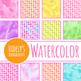 Handpainted Watercolor Rainbow Spots Digital Papers / Backgrounds